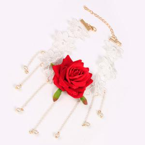 Openwork Tassel Crochet Flower Rose Necklace - RED