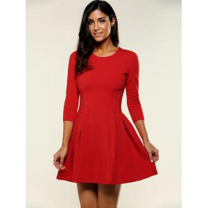 3/4 Sleeve Plain A-Line Dress -