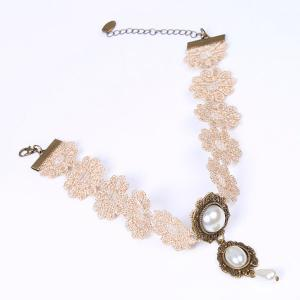 Carved Faux Pearl Crochet Lace Choker Necklace - YELLOWISH PINK
