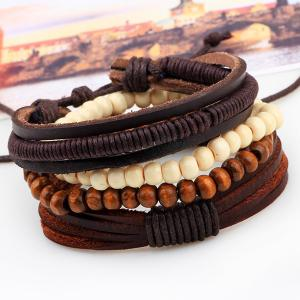 Beaded Layered Faux Leather Bracelets - COFFEE