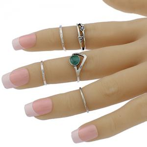Faux Gem Geometric Love Arrow Ring Set - SILVER ONE-SIZE