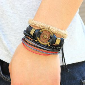 Rudder Beaded Faux Leather Bracelets - BLACK