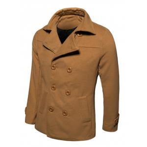 Turn-Down Collar Double-Breasted Wool Coat - EARTHY XL