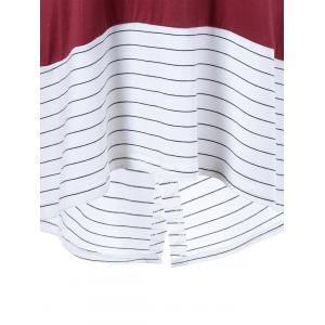 Striped Back Slit Blouse - RED WITH WHITE M