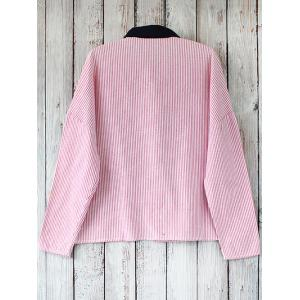Striped Oversized Heart Patched Shirt -