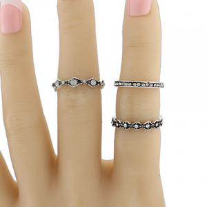 Vintage Rhinestone Alloy Circle Ring Set -