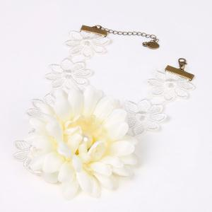 Faux Pearl Crochet Lace Openwork Necklace -