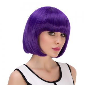 Exquisite Synthetic Cosplay Short Full Bang Bob Haircut Wig - PURPLE