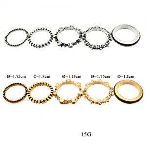Vintage Alloy Circle Ring Set - SILVER ONE-SIZE