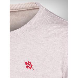 Leaf Embroidered Ribbed Crew Neck Knitwear -