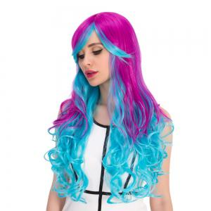 Purple Gradient Blue Long Inclined Bang Wavy Cosplay Synthetic Wig - COLORMIX