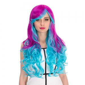 Purple Gradient Blue Long Inclined Bang Wavy Cosplay Synthetic Wig -