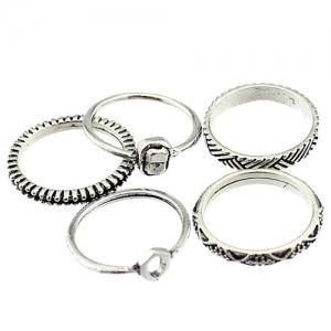 Vintage Engraved Alloy Circle Ring Set - SILVER ONE-SIZE
