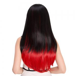 Long Full Bang Double Color Tail Adduction Cosplay Synthetic Wig -