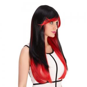 Long Full Bang Double Color Tail Adduction Cosplay Synthetic Wig - RED/BLACK