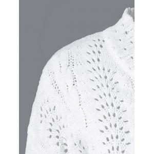 Long Sleeve Pullover Cable Knitwear - WHITE ONE SIZE