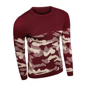 Crew Neck Camouflage Splicing Long Sleeve Sweater -