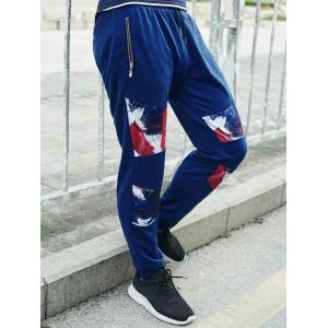 Print Splicing Jogger Pants -