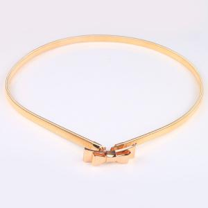 High Polished Double Bowknot Flat Belly Chain - GOLDEN