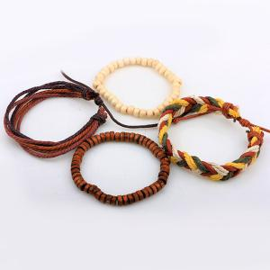 Layered Bead Braided Bracelets - BROWN