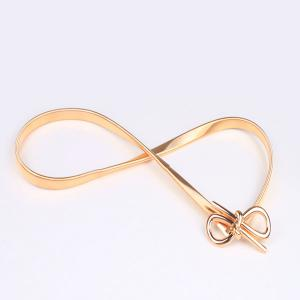 Filigree Polished Bowknot Flat Belly Chain - GOLDEN