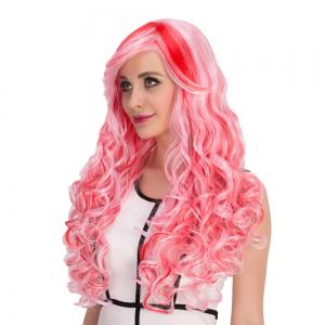 Red Mixed Pink Inclined Bang Shaggy Wavy Cosplay Synthetic Wig - COLORMIX