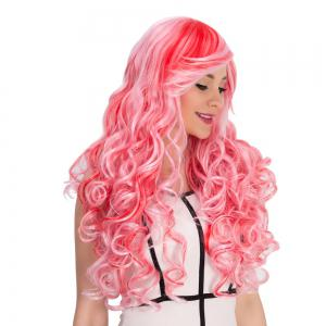 Red Mixed Pink Inclined Bang Shaggy Wavy Cosplay Synthetic Wig -