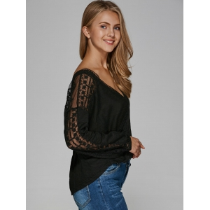 V Neck See-Through Cut Out Blouse -