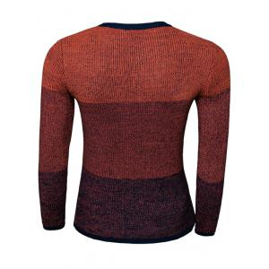 Color Striped Long Sleeve Crew Neck Sweater - RED 2XL