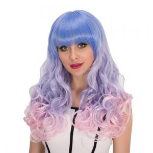 Multi Color Long Full Bang Shaggy Wavy Cosplay Synthetic Wig - COLORMIX