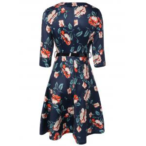 V-Neck 3/4 Sleeve Floral Print Dress - PURPLISH BLUE 2XL