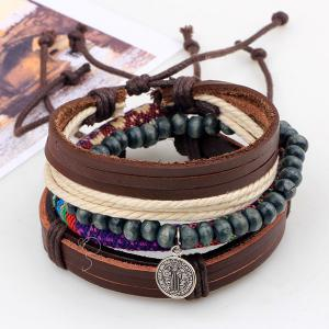 Coin Faux Leather Beads Wrap Bracelets -