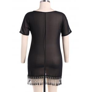 Chiffon Fringed  Cover Up - BLACK 3XL