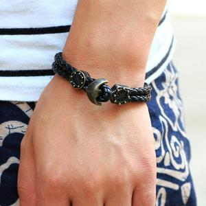 Vintage Anchor Rudder Faux Leather Bracelets - BLACK