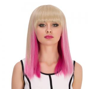 Synthetic Cosplay Medium Full Bang Straight Gradient Color Wig -