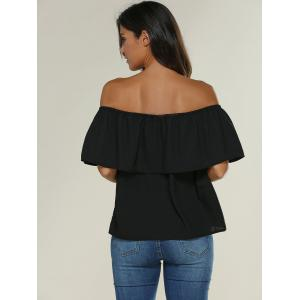 Off The Shoulder Lace Insert Ruffle Blouse -