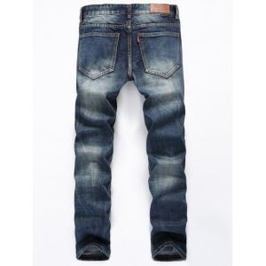Zipper Fly Straight Leg Frayed Jeans -