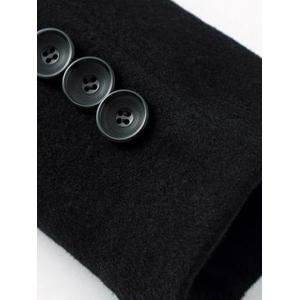 Single-Breasted Woolen Blend Stand Collar Coat - BLACK 3XL