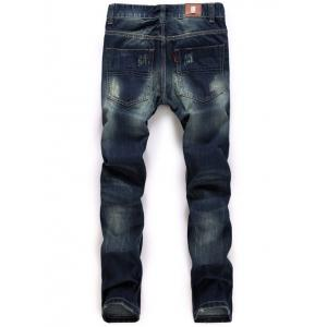 Zipper Fly Straight Leg Destroyed Washed Jeans -