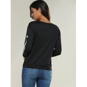 Imprimer Neck Skeleton Round Sweatshirt -