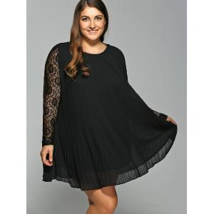 Long Sleeve Lace Spliced Pleated Plus Size Dress - BLACK 3XL