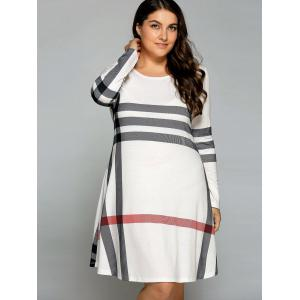 Casual Plus Size Vertical Striped T-Shirt Dress - OFF WHITE 5XL
