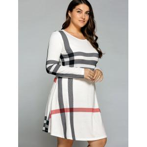 Casual Plus Size Striped Long Sleeve T-Shirt Dress - OFF WHITE 5XL