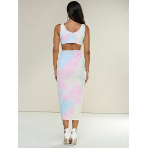 Slimming Tie-Dyed Hollow Out Midi Dress -