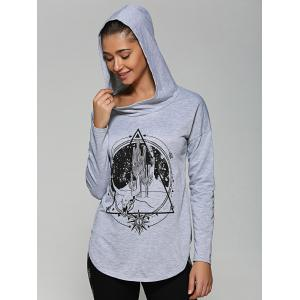 Rounded Hem Graphic Hoodie -