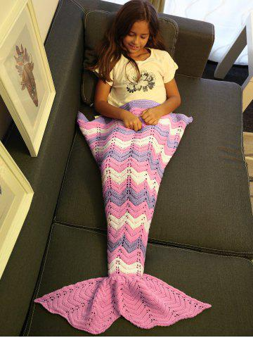 Fancy Comfortable Knitting Openwork Color Block Mermaid Blanket