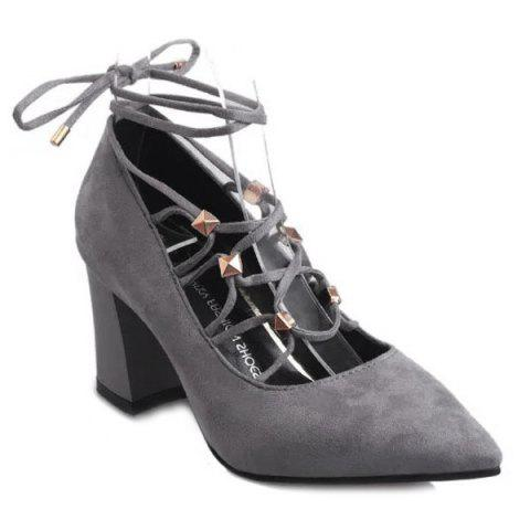 Fancy Tie Up Cross Straps Rivets Pumps