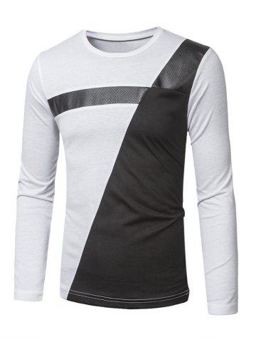 Crew Neck PU-Leather Splicing Color Block T-Shirt - White - M