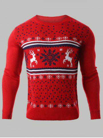 Cheap Snowflake Deer Jacquard Round Neck Sweater RED XL