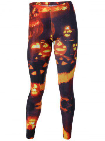 Affordable Light Print Elastic Hallowmas Leggings COLORMIX M